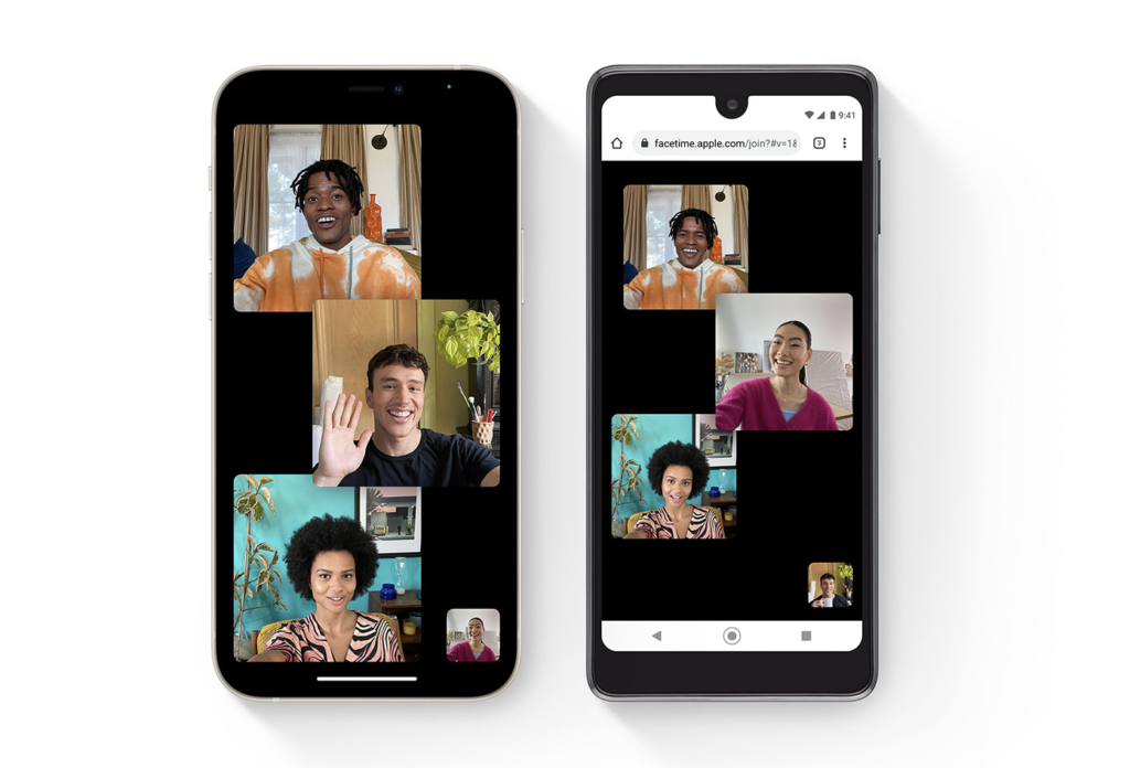 A Black iPhone 12 next to a Black Android phone. Both screens show images of 4 people on FaceTime together.